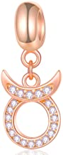 EMOSTAR Zodiac Sign Charms fits European Charm Bracelet – Rose Gold 925 Sterling Silver Necklace Pendant, 12 Horoscope Constellation Dangle CZ Birthstone Beads, Birthday Gifts for Women/Men