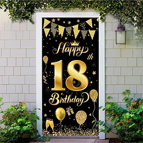 Decoración de Fiesta de 18 Cumpleaños, Extra Grande Póster de Cartel Dorado Negro Materiales de Fiesta de 18 Cumpleaños, 18 Aniversario para Foto Prop Fondo Pancarta de Fondo de