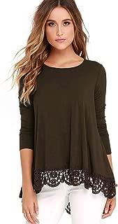 FISOUL Women's Tops Long Sleeve Lace Trim O-Neck A-Line Tunic Tops