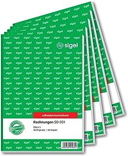 Sigel SD031 Invoices, A5, 2 x 40 sheet, non-copiable. 5 piece