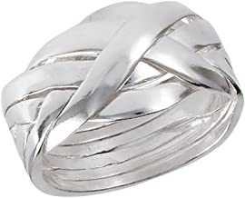 Six Piece Hard Puzzle Knot Weave Mesh Ring .925 Sterling Silver Band Sizes 6-12