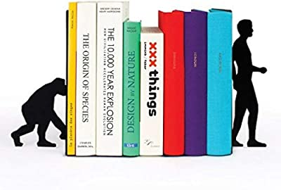 A10SHOP Ares Monkey to Man Evolution Metal Bookends, Non-Skid Base