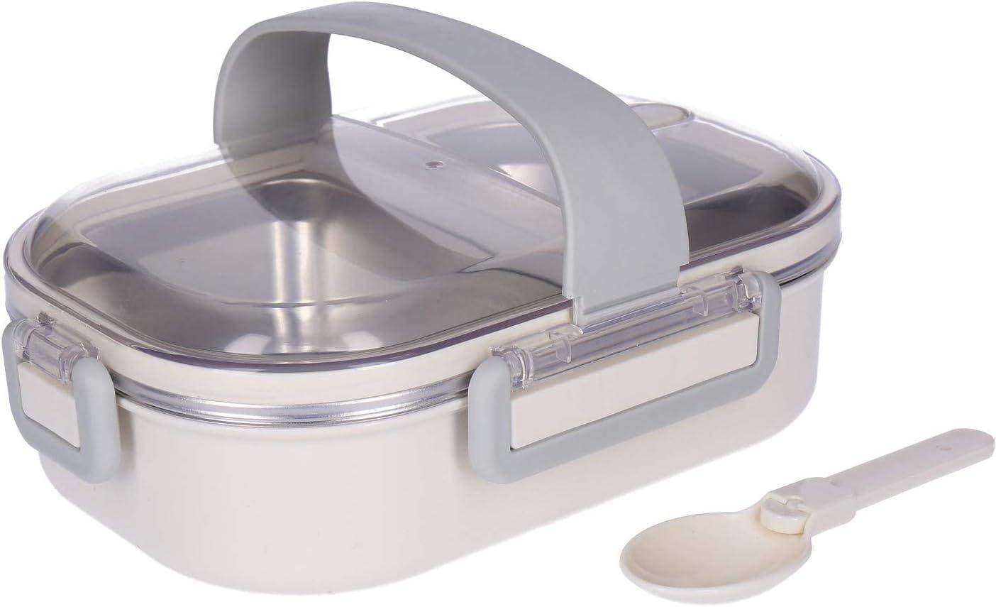 Fiambrera de acero inoxidable 18/10 con cuchara y asa de transporte de aprox. 700 ml, Bentobox, fiambrera, 2 compartimentos, tapa de clic de 4 capas, hermética, sin BPA (beige)