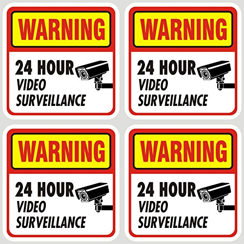 """Jancosta 24 Hour Video Surveillance Sticker Decals, Security Warning Sign for Business and Home, Indoor and Outdoor (5.5x5.5"""" Pack of 4)"""