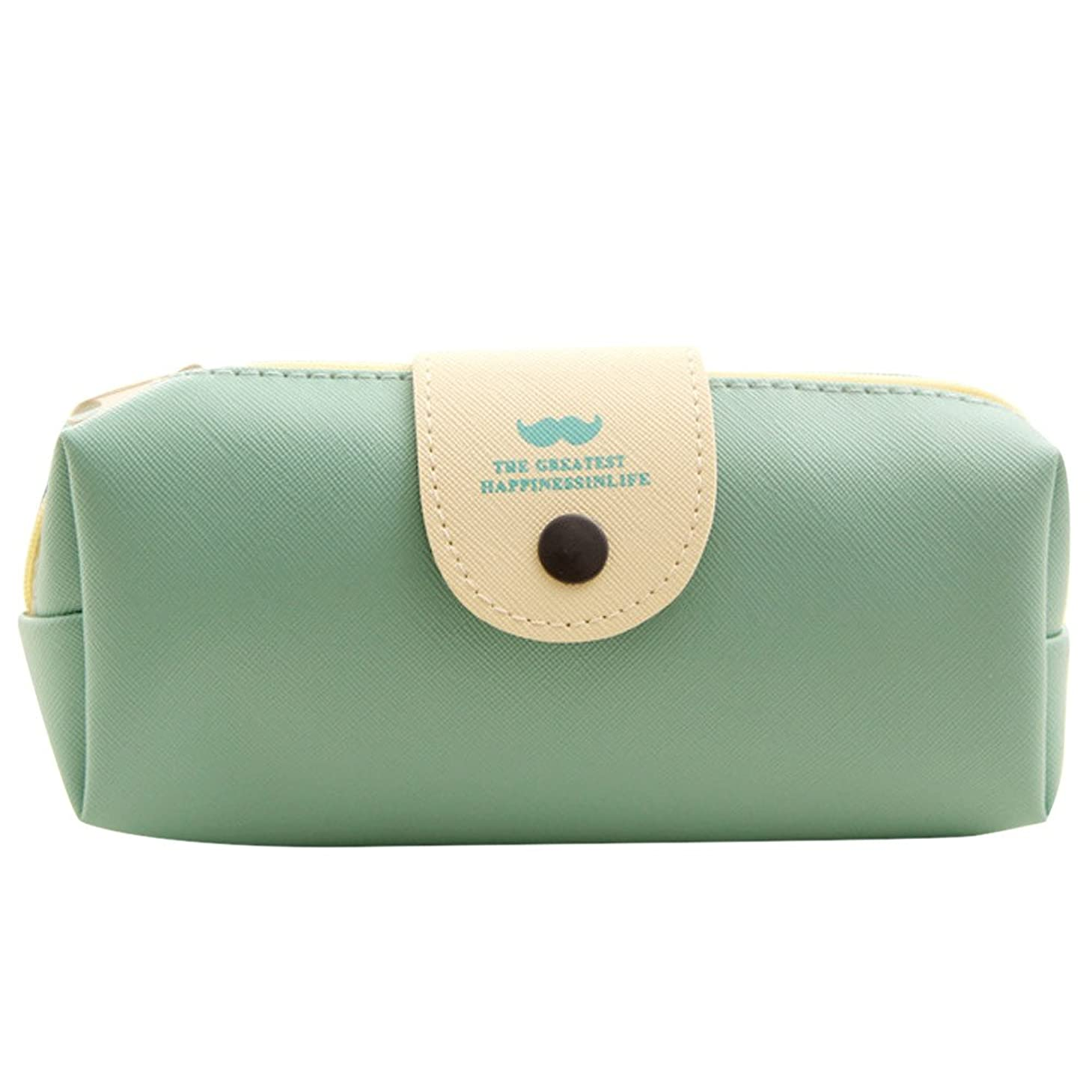 引き出しサラダパークファッションレザー化粧品化粧バッグペンペンシル文房具ケースジッパーポーチかわいいボックス。 (Blue)