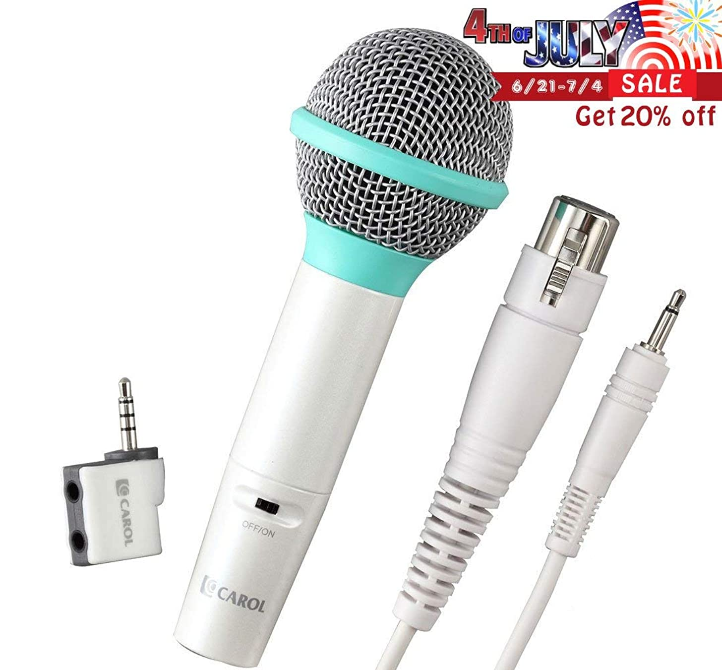 Portable Dynamic Microphone Set with Carrying Case for iOS Devices, Turn Your iPhone/iPad Into a Karaoke Machine | by CAROL ICT-12+GS-77S (Green)