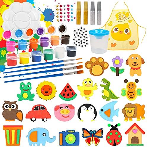 O-Kinee Kit per Il Fai da Te per Bambini, 40pcs Calamite in Legno Pittura Kit, in Legno Calamite per Il Frigorifero, per Pittura Magneti in Legno Kit Lavoretti Creativi Regalo per Bambini