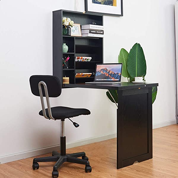 TANGKULA Wall Mounted Table Fold Out Multi Function Computer Desk Convertible Desk Writing Desk Home Office Wood Convertible Desk Large Storage Area Black