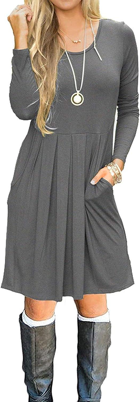 AUSELILY Women's Long Sleeve Pleated wi Swing Cheap bargain Casual OFFer Dress Loose