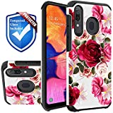 STORM BUY Red Floral Phone Case Compatible for [ Samsung Galaxy A11 Case [Shock Absorption] Dual Layer Heavy Duty Pink Rose Protective Girl Women Cover + [ Screen Protector Tempered Glass ]