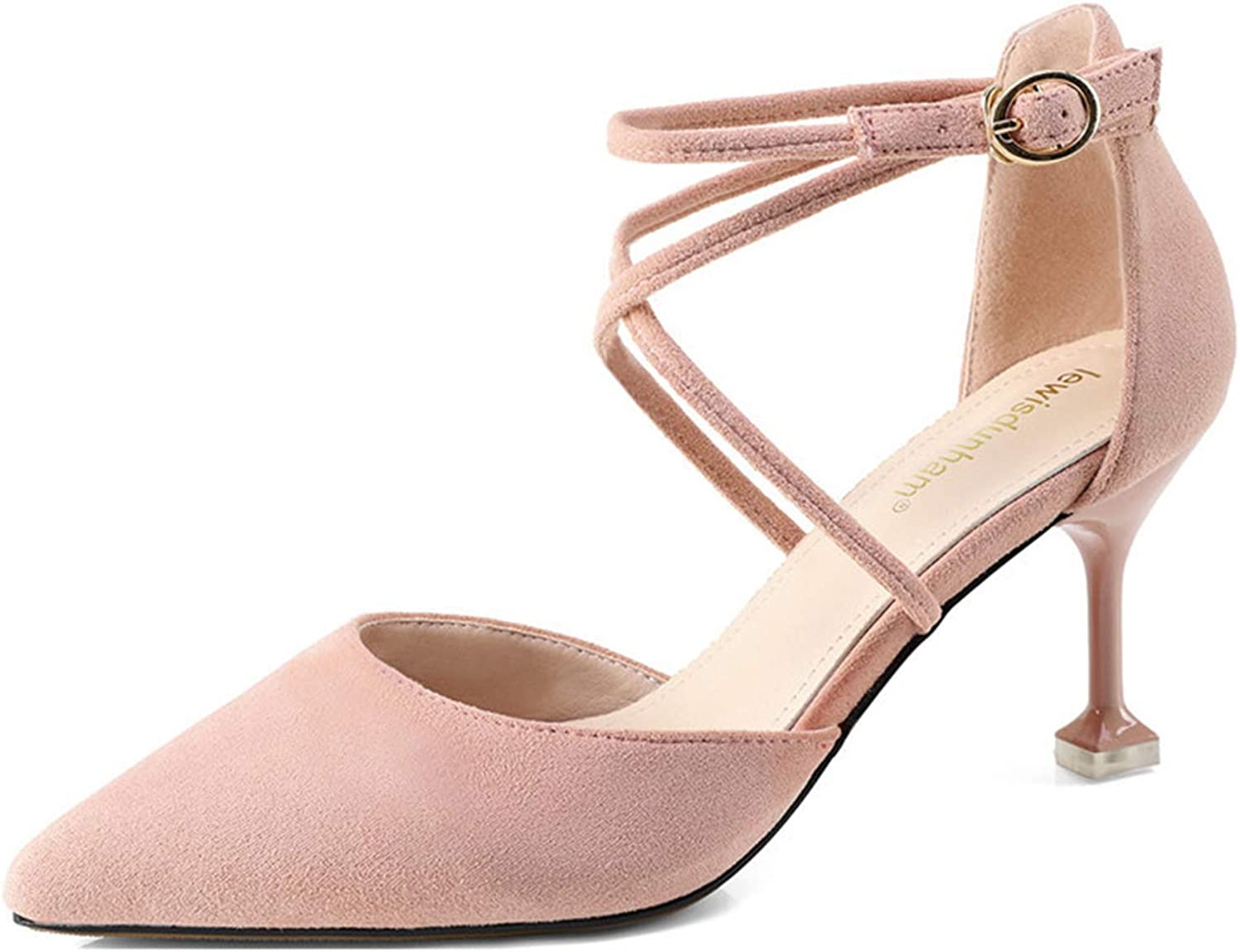 Mashiaoyi Women's Pointed-Toe Ankle-Strap Buckle Suede Heeled Sandals