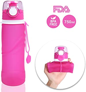 OWUDE Collapsible Water Bottles, Silicone 750ML Medical Grade Water Bottles, Leak Proof Travel Foldable Water Bottles, BPA...