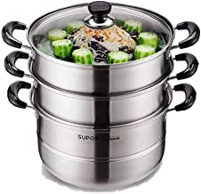 JLCK Steamer Stainless Steel 26CM Double-layer Composite Bottom Steamer Can Be Steamed And Boiled, Suitable For Induction ...
