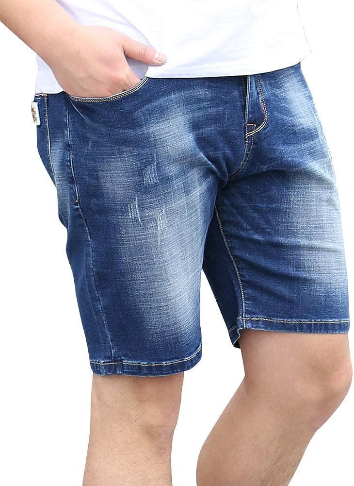 IDEALSANXUN Men's Big&Tall Stretchy Denim Shorts with Elastic Waist