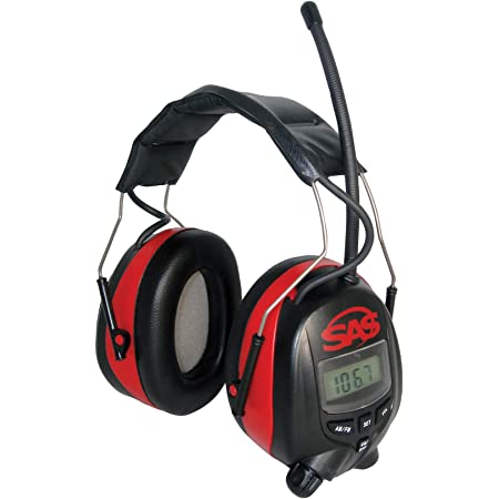 SAS Safety 6108 Digital Earmuff Hearing Protection with AM/Fm Radio & MP-3 Ready, black and yellow