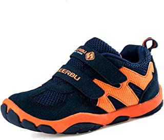 Boy's Leather Casual Outdoor Breathable Running Shoes Sneakers, Dark Blue, Size 5M US Big Kid