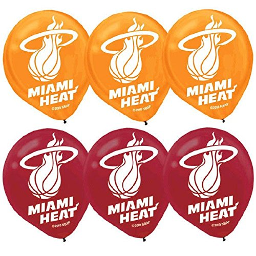 Amscan 113626 Miami Heat NBA Collection Printed Latex Balloons Party Decoration 12 6 Ct