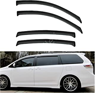 itelleti 4pcs Outside Mount Dark Smoke Sun/Rain Guard Front+Rear Tape-On Auto Window Visors For 11-19 Toyota Sienna