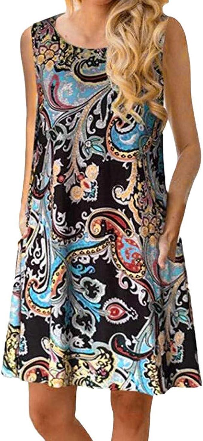 Lulupi Damen Vintage Bohmischen Geblumtes Kleid Kurz Sommerkleider Rundhals Armellos T Shirt Knielang Freizeitkleid Amazon De Bekleidung
