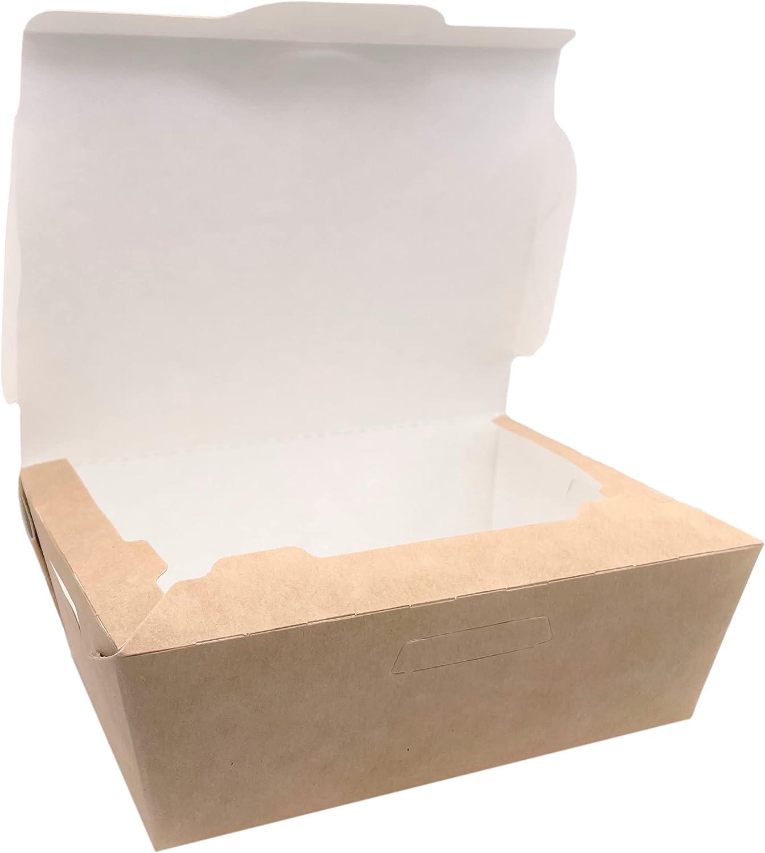 Paquete de 50 fiambreras de papel Kraft 600 ml, comida rápida desechable a prueba de fugas, biodegradable, ecológica, reciclable (50, 600 ml)