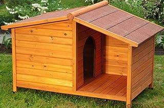 Caseta de perro de madera Resistente y atractiva caseta de madera de exterior con patio resguardado