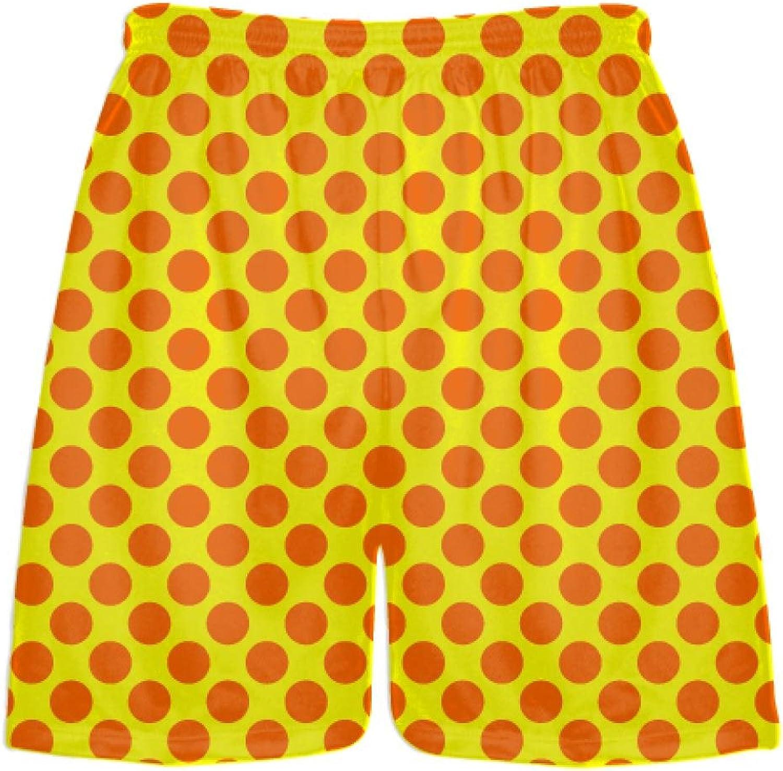 LightningWear Yellow orange Polka Dot ShortsPolka Dot Lacrosse ShortsAthletic Shorts