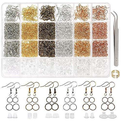 Gesh 3700-teiliges Ohrringherstellungs-Set mit 6 Farben Ohrringhaken, Biegeringen, Ohrring-Ohrring-Herstellung und Reparatur