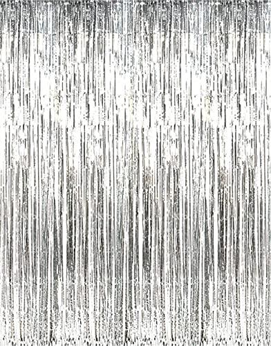 Partyrama Rideau scintillant simple Argenté 91 x 244 cm, Argent, Silver, 91 l x 244 h centimeters