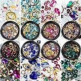 8 Boxen Nagel Kunst Strass Flache Rückseite Diamanten Kristalle Perlen Edelsteine Gemischt Bunt für Nagel Kunst Dekorationen DIY Design