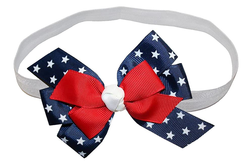 WD2U Baby Girls Red White Blue Star Spangled Patriotic Hair Bow Stretch Headband
