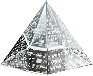 Waltz&F 60mm Crystal Pyramid Figurine Collectible,Glass Pyramid Paperweight with Egyptian Silver Character
