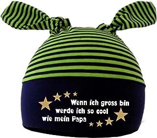 KLEINER FRATZ 2-Zipfel Baby Mütze Kinder Jungen Mädchen Babymütze Hat Wenn ich gross bin werde ich so cool wie Papa