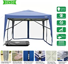 VINGLI EZ POP UP 10'x10' Outdoor Canopy Tent  Removable Mesh Sidewalls & Portable Rolling Carrying Bag, for Camping/Travel/Patio/Gazebo, Sun & Water Resistant