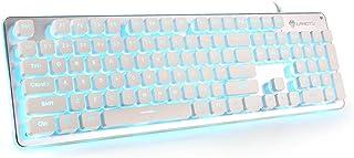 لوحة مفاتيح كمبيوتر LED، لوحة مفاتيح سلكية من LANGTU للألعاب والمكتب، لوحة معدنية بالكامل 104 مفاتيح هادئة مع إضاءة زرقاء ...
