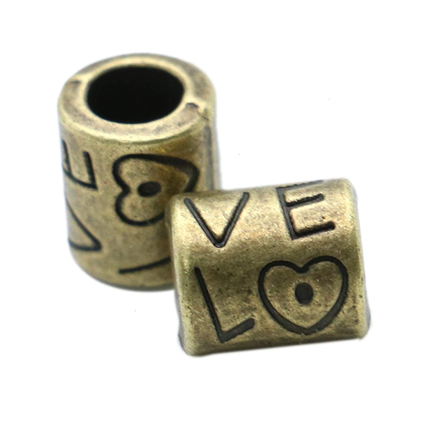 Monrocco 60Pcs Antique Bronze Love Lagre Spacer Beads Vintage Alloy Beads for Jewelry Making and Crafting xfqvjmwumx