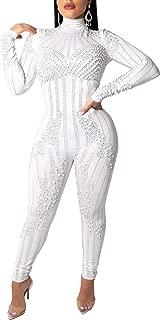 Women's Sexy Bodycon Jumpsuits Long Sleeve Rhinestones One Piece Jumpsuit Romper Clubwear