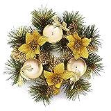 COOFIT Candelabro de Navidad Corona de Flores Artificiales Soporte de Velas Centro de Mesa...