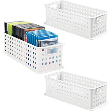 mDesign rangement DVD empilable avec poignée lot de 3 – caisse de rangement pour DVD, CD et jeux vidéo avec poignée – rangement CD en plastique – blanc