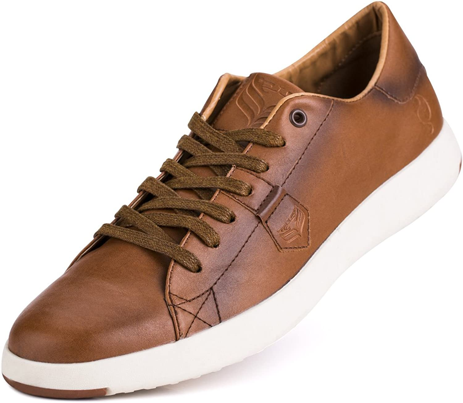 Jivana Men's Sneaker Casual Classic shoes Lace-up bluee Brown White
