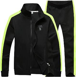 Men's Athletic Full-Zip Jogging Sweat Suit Sports Set Casual Tracksuit