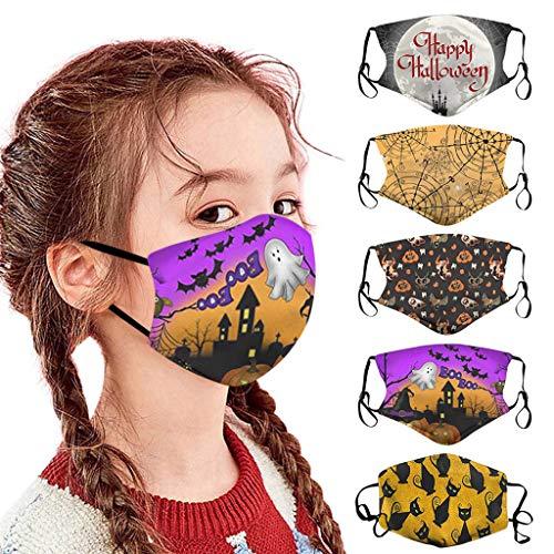 Sannysis 5 Stück Kinder Mundschutz mit Filtertasche Multifunktionstuch Halstuch Atemschutz Lustige Motiv Mund Nasenschutz Waschbar Staubdicht Bandana (A)