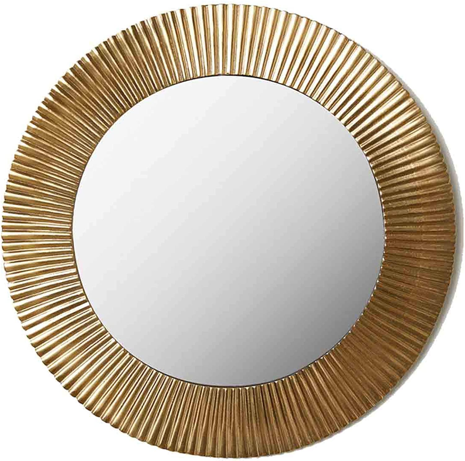 Round Wall Decorative Mirrors with golden Metal Frame Nordic Wall-Mounted Make Up Vanity Mirror for Entryways, Bathroom, Bedroom (35.5cm 14″)