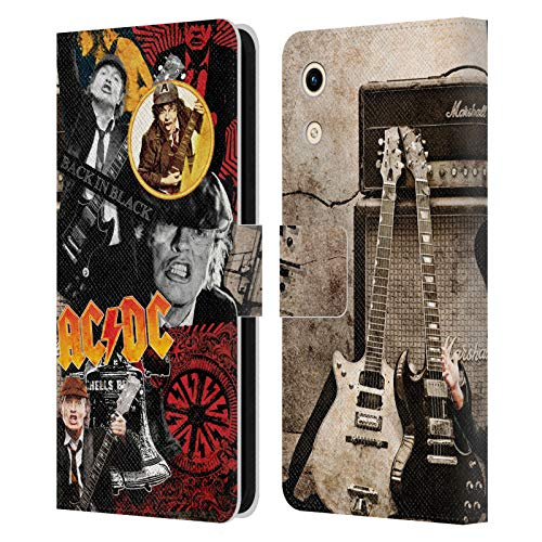 Head Hülle Designs Offizielle AC/DC ACDC Angus Young Collage Leder Brieftaschen Handyhülle Hülle Huelle kompatibel mit Huawei Honor Play 8A