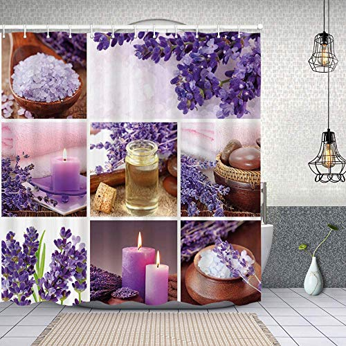 Waterproof Shower Curtain,Lavender Garden Alike Themed Relaxing Candles Stones and Herbal Salt Image,Washable Fabric Bathroom Decor Set with Hook Bath Curtain 150x180cm