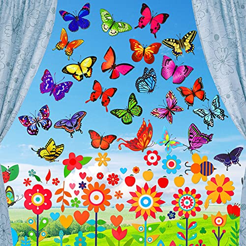 56 Stücke Großes Frühling Fenster Aufkleber Blumen Schmetterling Fenster Aufkleber Antikollisions Fenster Aufkleber Dekorationen für Glas Fenster Kinder Sommer Frühling Baby Party Zubehör