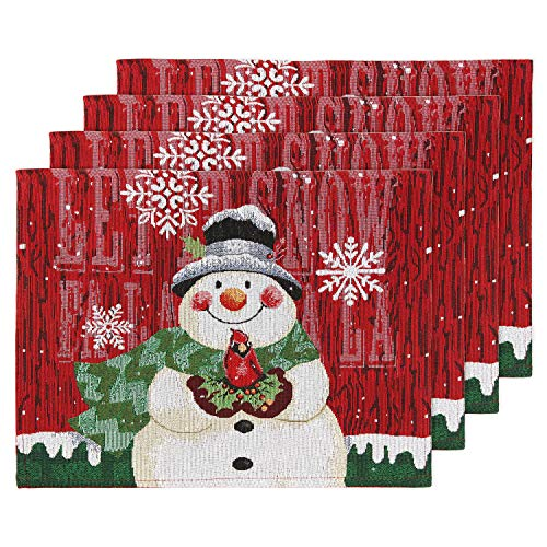 Feuille Christmas Placemats Set of 4 – Cloth Placemats for Dining Table, Cardinal Snowman Snowflake Placemats for Christmas Table Decorations