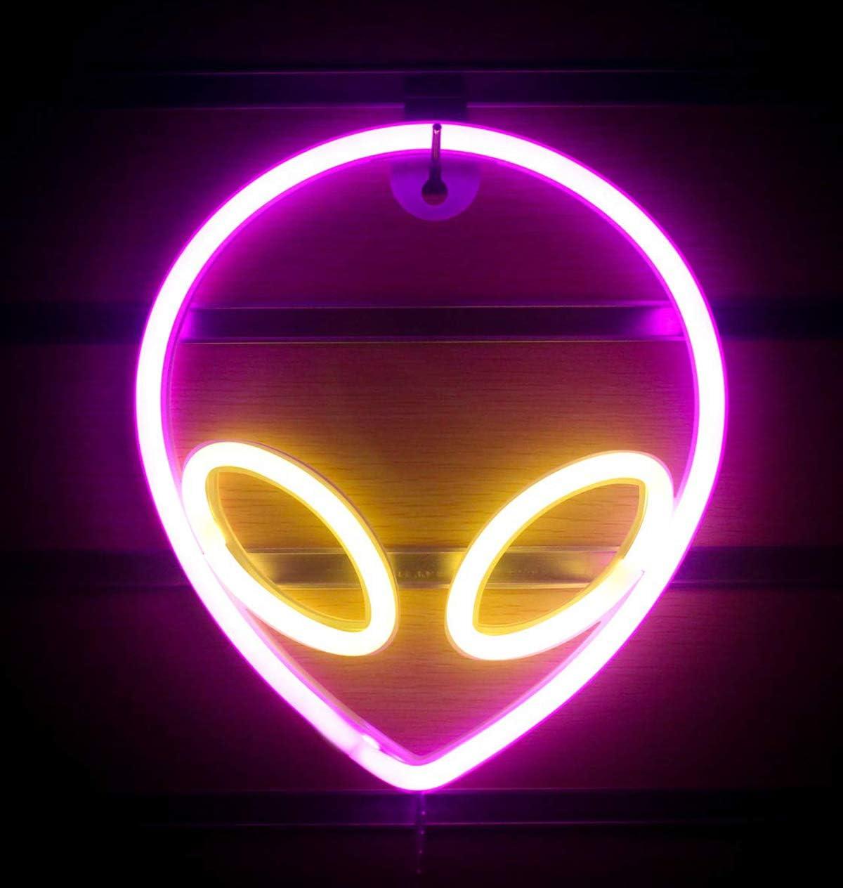 Sfuzwg Alien Neon Light LED Alien Neon Letreros de luz decorativa decoraci/ón de pared luz de pared luz de noche suave colgante fiesta bar para el hogar