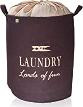 Yellow Weaves™ Laundry Basket for Dirty Clothes, Folding Round Laundry Bag (50 LTR)