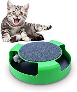 OWUDE Cat Interactive Training Toys with a Running Mice and a Scratching Plate Educational Toys Catch The Mouse - Green