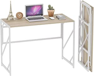 Elephance Folding Desk Writing Computer Desk for Home Office, No-Assembly Study Office Desk Foldable Table for Small Spaces (Beige)